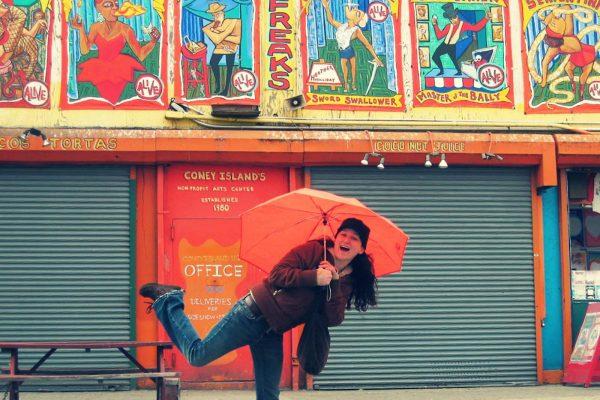 Jillian Buckley on location in Coney Island